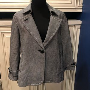 Talbots NWT 12P loose fit blazer black/white